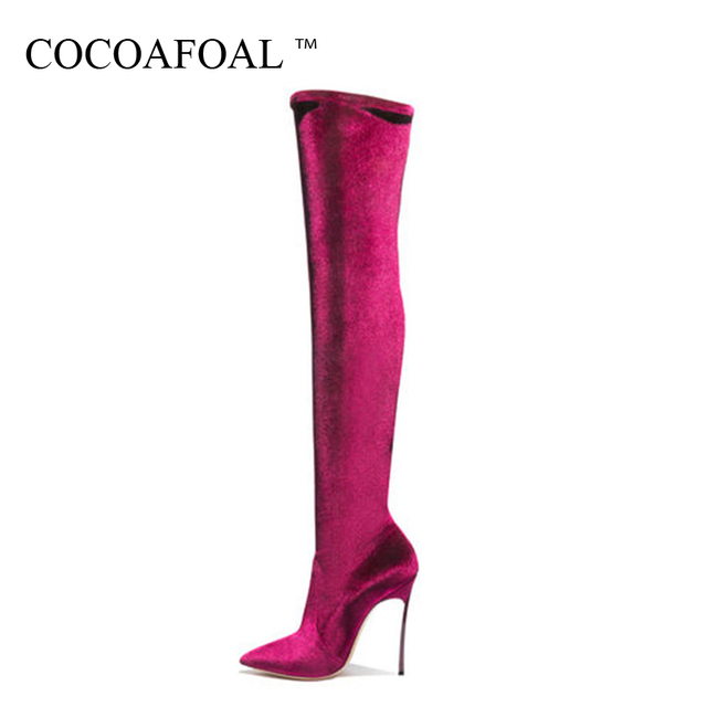 0d2c85ae240 COCOAFOAL Women's Over The Knee Boots Sexy Winter Woman High Heel Shoes  Plus Size 33 43 Black Fashion Sexy Thigh High Boots 2018