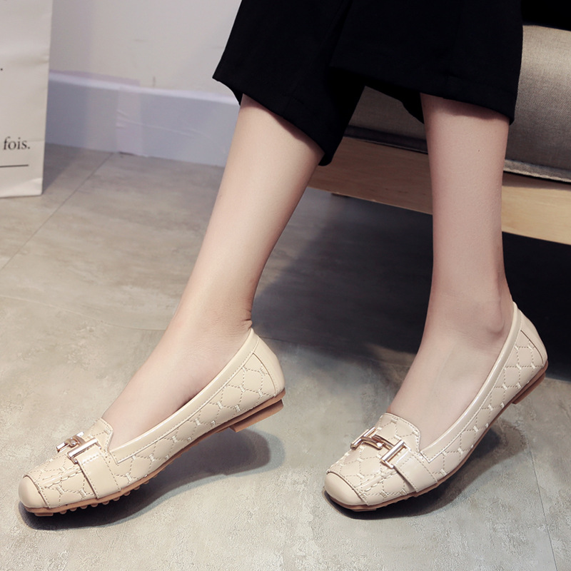Women Flats Shoes Metal Decoration Patent Leather Square Toe Fashion High Quality Flat Moccasins Ladies For Office Boat Shoes in Women 39 s Flats from Shoes