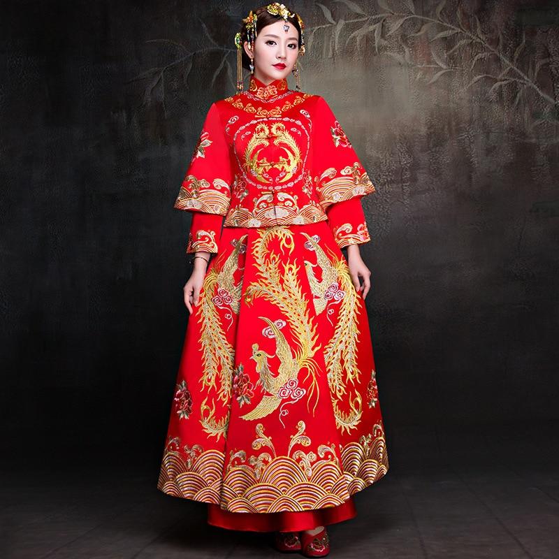 Ancient Bride Wedding Dress Phoenix Women Satin Cheongsam Embroidery Chinese Style Qipao ...