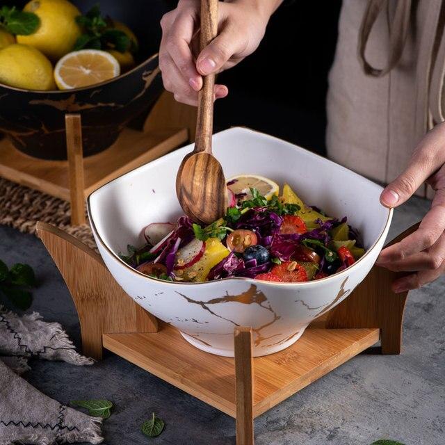 1 adet İskandinav yaratıcı meyve salatası kasesi mermer ev seramik sofra çorba kasesi büyük kaseler karıştırma kabı