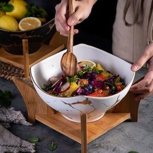 Image 1 - Cuenco nórdico original para ensalada, 1 Uds., vajilla de cerámica para el hogar de mármol, tazón de sopa, cuencos grandes, tazón de mezcla