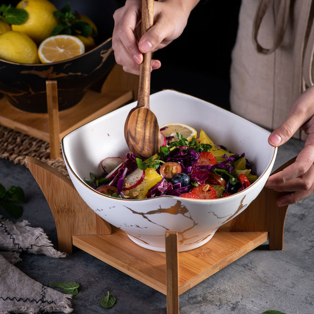 Cuenco nórdico original para ensalada, 1 Uds., vajilla de cerámica para el hogar de mármol, tazón de sopa, cuencos grandes, tazón de mezcla