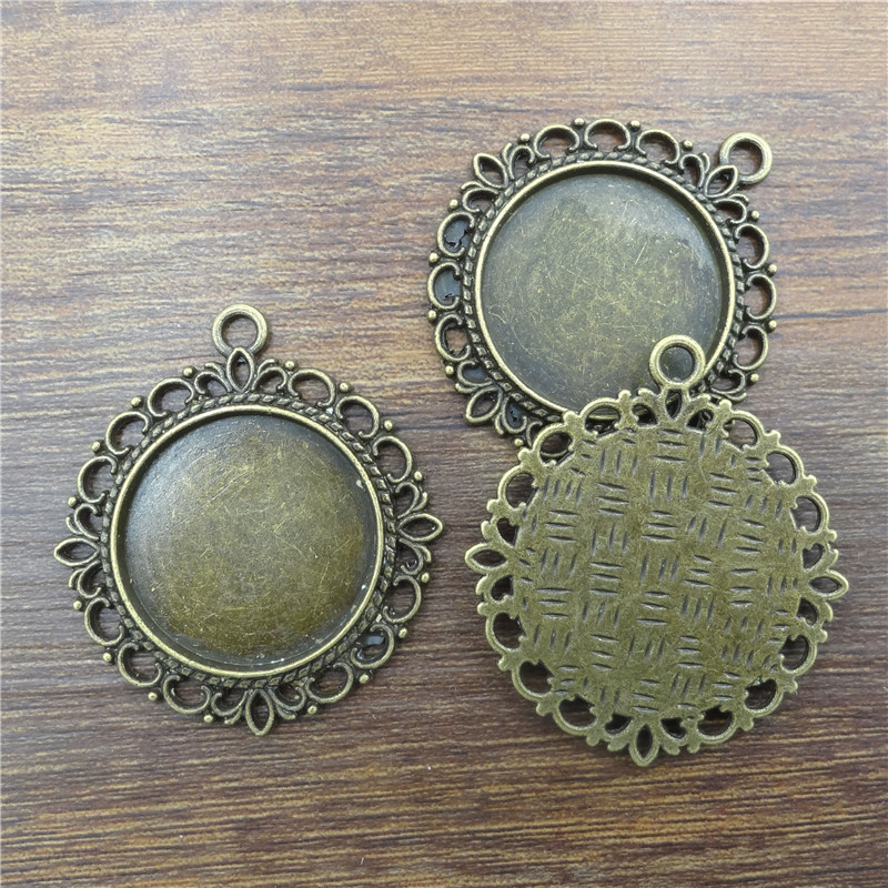 10pcs Ancient Bronze round Necklace Pendant Setting Cabochon Cameo Base Tray Bezel Blank handcrafted Jewelry Findings&components