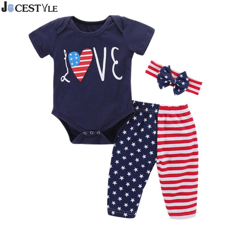 3Pcs Cute Baby Girl Clothes Set Cotton Short Sleeve Baby Bodysuit Stripe + Pants + Bow Headband Newborn Jumpsuit Outfits 0-18M