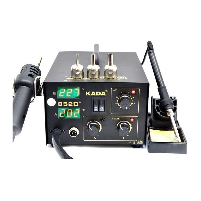 220V/110V KADA 852D+ SMD repairing system BGA soldering station Hot air gun & solder iron 2 in 1 esd safe aoyue 768 repairing system digital display hot air gun soldering station mobile dc power supply 3 in 1 system