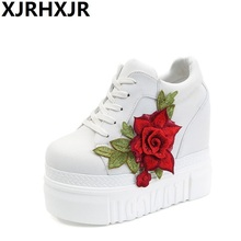 XJRHXJR Rose Wedges Pu Shoes Woman Platform Hidden Heel Height Increasing Casual Female Chaussure Femme Size 35-39
