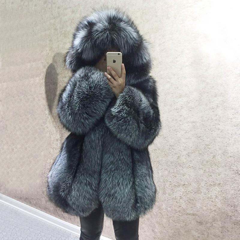 Invierno de lujo Real Natural Fox Fur Coat mujeres piel cuero genuino chaqueta de piel con capucha abrigo de piel de Fox de plata para mujer