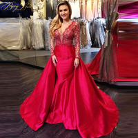 Red Long Sleeves Evening Dresses 2019 Sequined Backless Deep V Neck Formal Evening Long Dress Prom Gowns Robe Soiree Longue