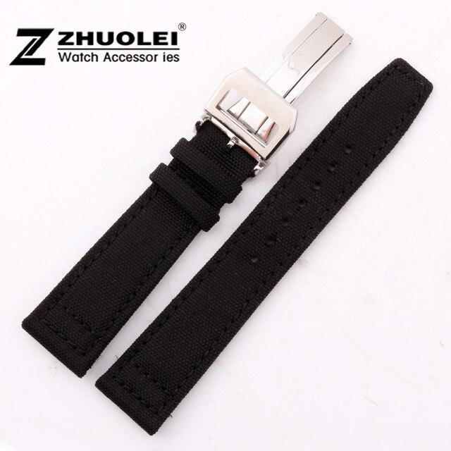 21mm Nuevo Negro de Alta Calidad de Nylon/Cuero Genuino Correa de Reloj Con Cepillado Plata Depolyment Corchete del Acero Inoxidable Fit piloto