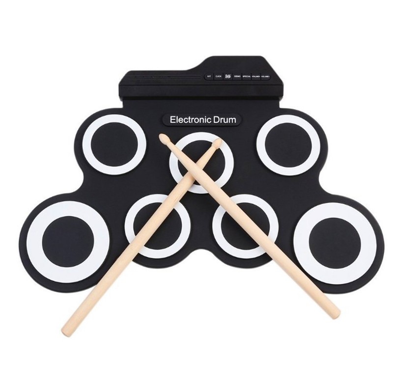 ZONAEL Professional 7 Pad Digital Portable Collapsible Silicone Musical Roll-up Electronic Drum Pad K Set With Stick