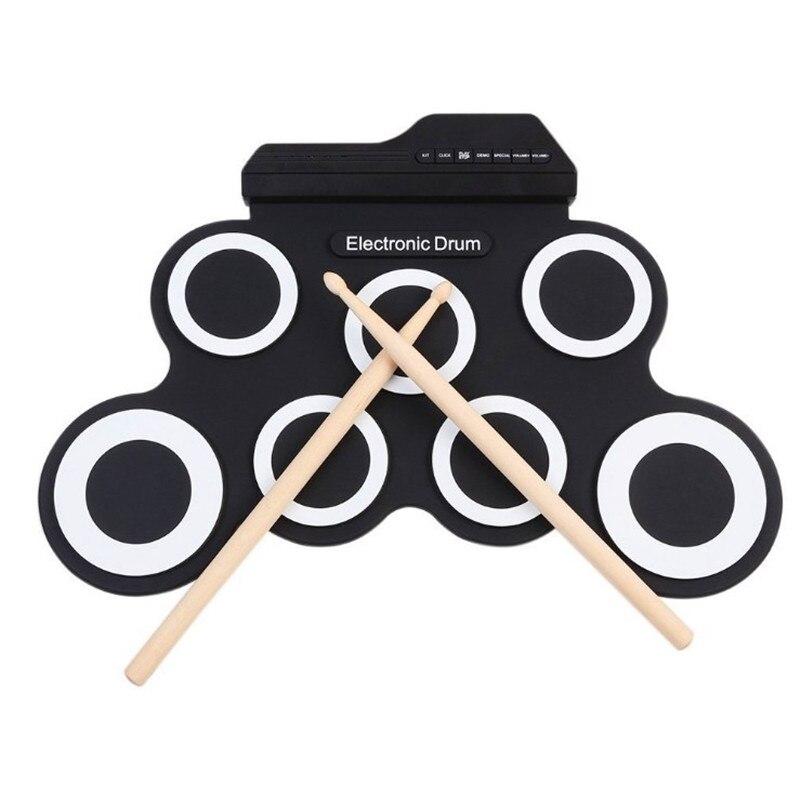 ZONAEL Professionnel 7 Pad Numérique Portable Pliable Silicone Musical Roll-up Batterie Électronique K Ensemble Avec Bâton