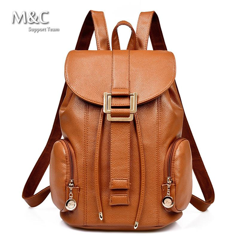 20f936bcac86 New 2017 Genuine Leather Backpacks Women Bags Ladies Brand Backpack Preppy  Style Vintage school Bag women s backpack BD 124-in Backpacks from Luggage    Bags ...