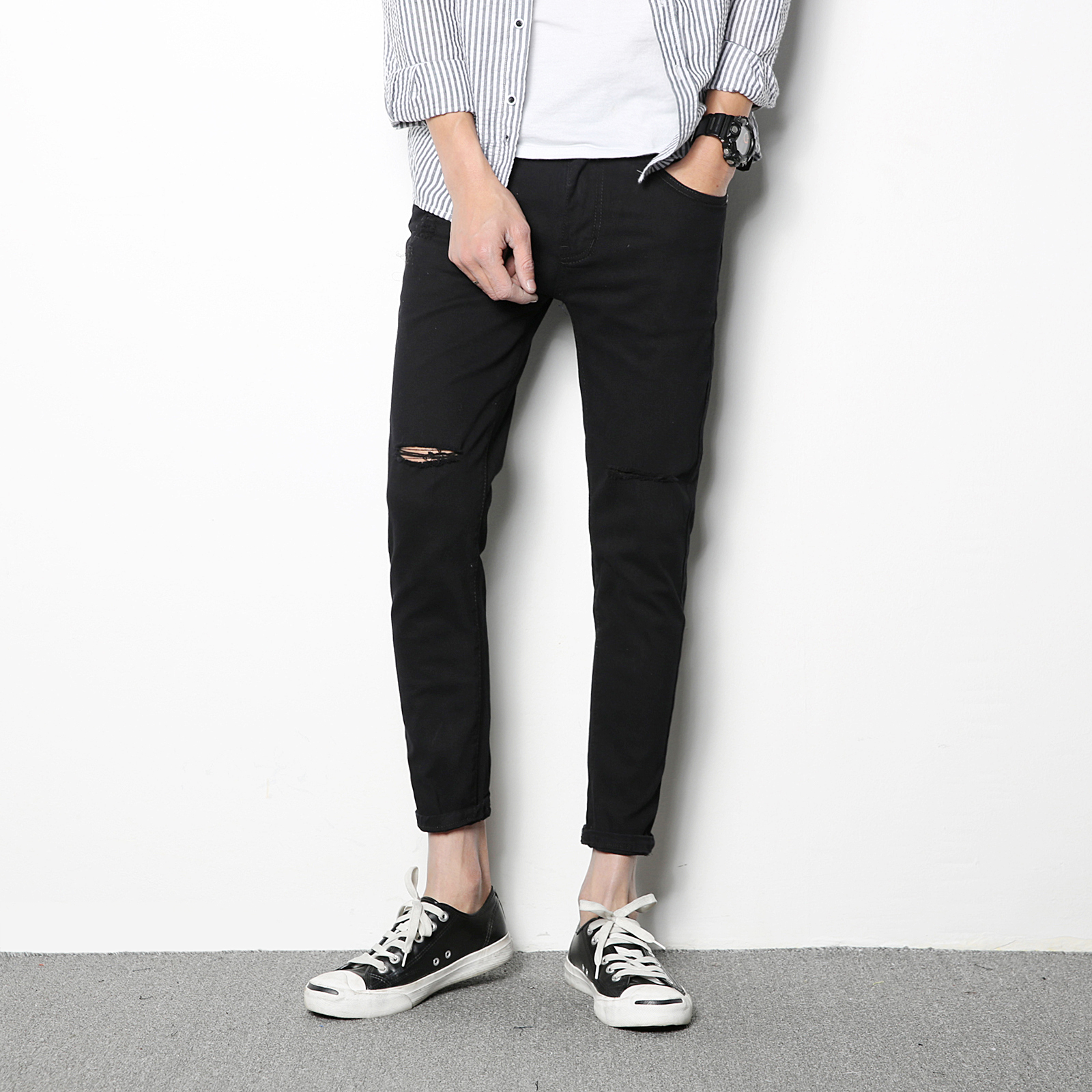 Online Get Cheap Men Black Skinny Knee Ripped Jeans -Aliexpress ...