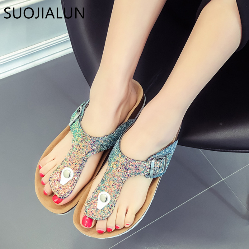 SUOJIALUN Women Shoes 2018 Summer Casual Flip Flops Slipper Fashion Bling Beach Slides Women Flat Sandals Plus Size women cork slipper flip flops sandals women mixed color bohemia thick bottom slides shoes open toe flat summer style plus size 8