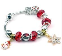 Hot Sell European Style christmas xmas snow man star pendant crystal charm bracelet new year gift