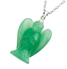 FYJS Unique Silver Plated Small Cute Angel Pendant Natural Green Aventurine Necklace For Amulet Jewelry