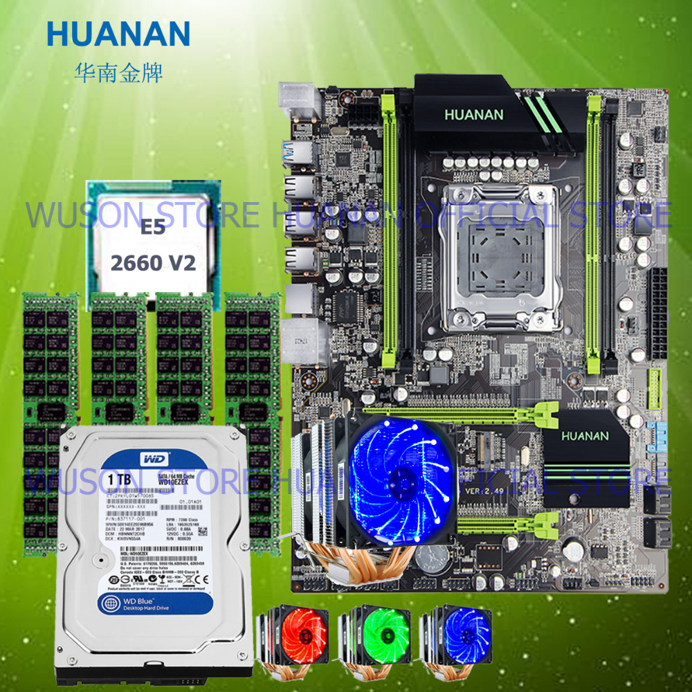 HUANAN V2.49 X79 motherboard CPU Xeon E5 2660 V2 with 6 heatpipes cooler RAM 16G(4*4G) DDR3 RECC 1TB 3.5' SATA HDD all tested huanan v2 49 x79 motherboard with pci e nvme ssd m 2 port cpu xeon e5 2660 c2 ram 16g ddr3 recc support 4 16g memory all tested