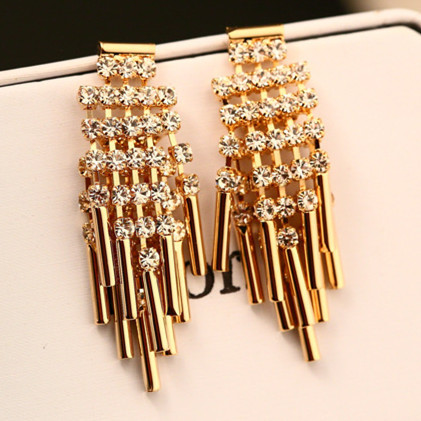 Chandelier Evening Earrings Fashion Rhinestone Tels Dangle Earring For Women Luxury Gold Plated Accessories Party