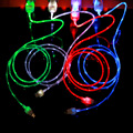 Streamer Data Line Crystal LED Light Micro V8 USB Data Cable Noodle Cable Charger For Samsung S6 S7 For Android