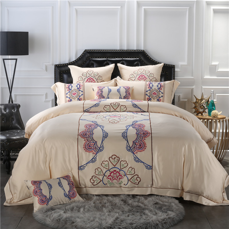 4/7-Pieces beige Color Cotton Embroidery Boho Luxury Bedding Set King Size Queen Bed Set Cotton bedsheet Set Pillow Case4/7-Pieces beige Color Cotton Embroidery Boho Luxury Bedding Set King Size Queen Bed Set Cotton bedsheet Set Pillow Case