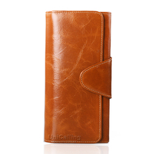 Genuine leather hasp women wallets high-end  All-match solid color mini long wallet much Card holder Lady Purse Large capacity