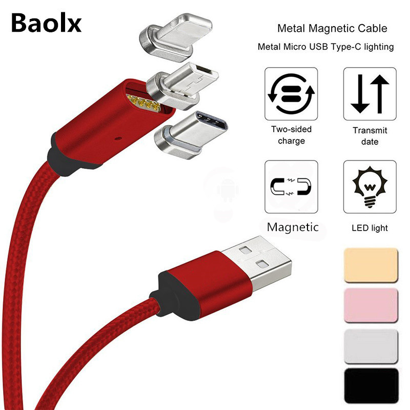 1m Magnetic Phone Charger Cable With Type C Micro Usb Ios