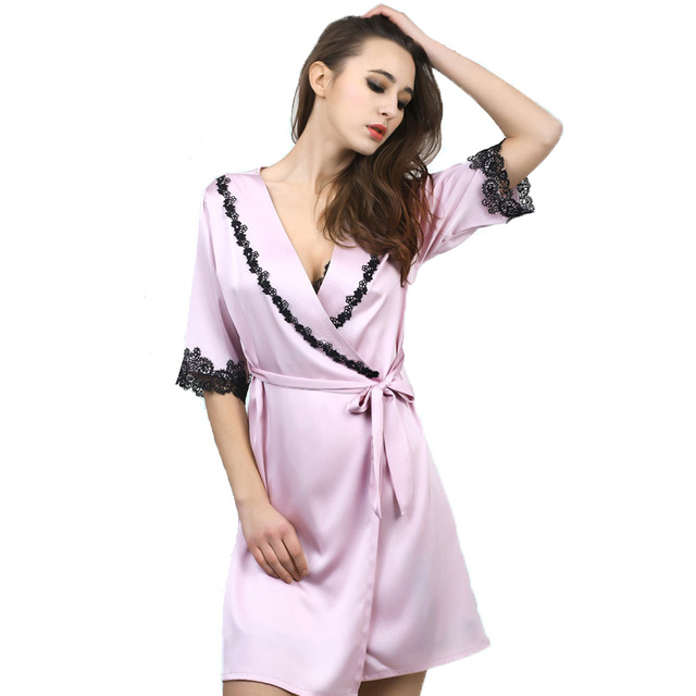 New Arrival Womens Silk Sleep & Lounge Lace Lingerie Temptation Classic Nightgown Kimono Sleepwear Robe Gown With Belt 0016