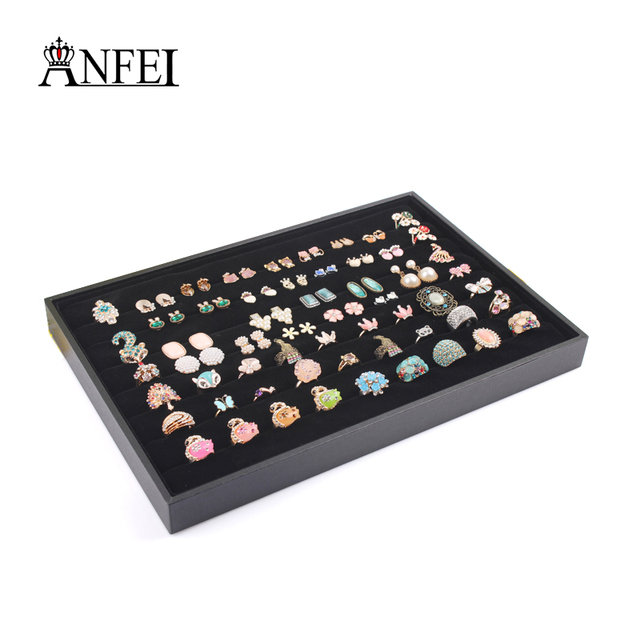ANFEI New Fashion Black Ring Earrings Bracelet Necklace Velvet
