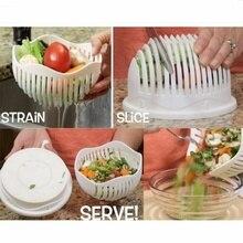 New 60 Seconds Salad Maker Cutter Bowl Easy Fruit Vegetable Salad Maker Chopper Tool White W1472