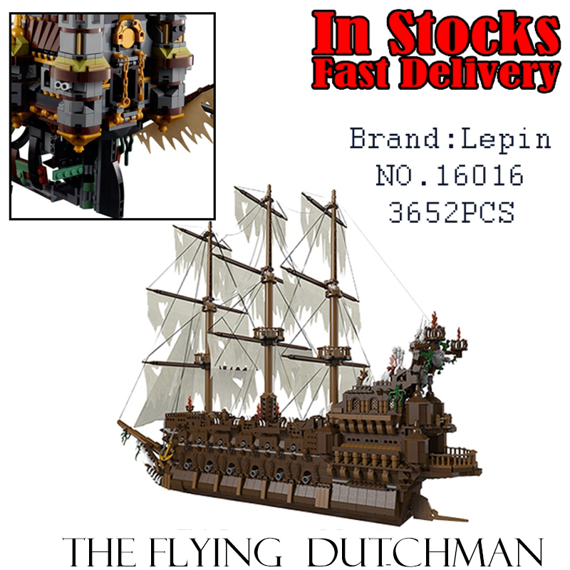 Lepin 16016 Pirates The Flying Dutchman 3652Pcs Building Blocks Bricks Educational DIY Toys Model for children Christmas Gifts lepin 16006 pirates of the caribbean the black pearl building blocks educational funny set 4184 toy for children bricks gifts