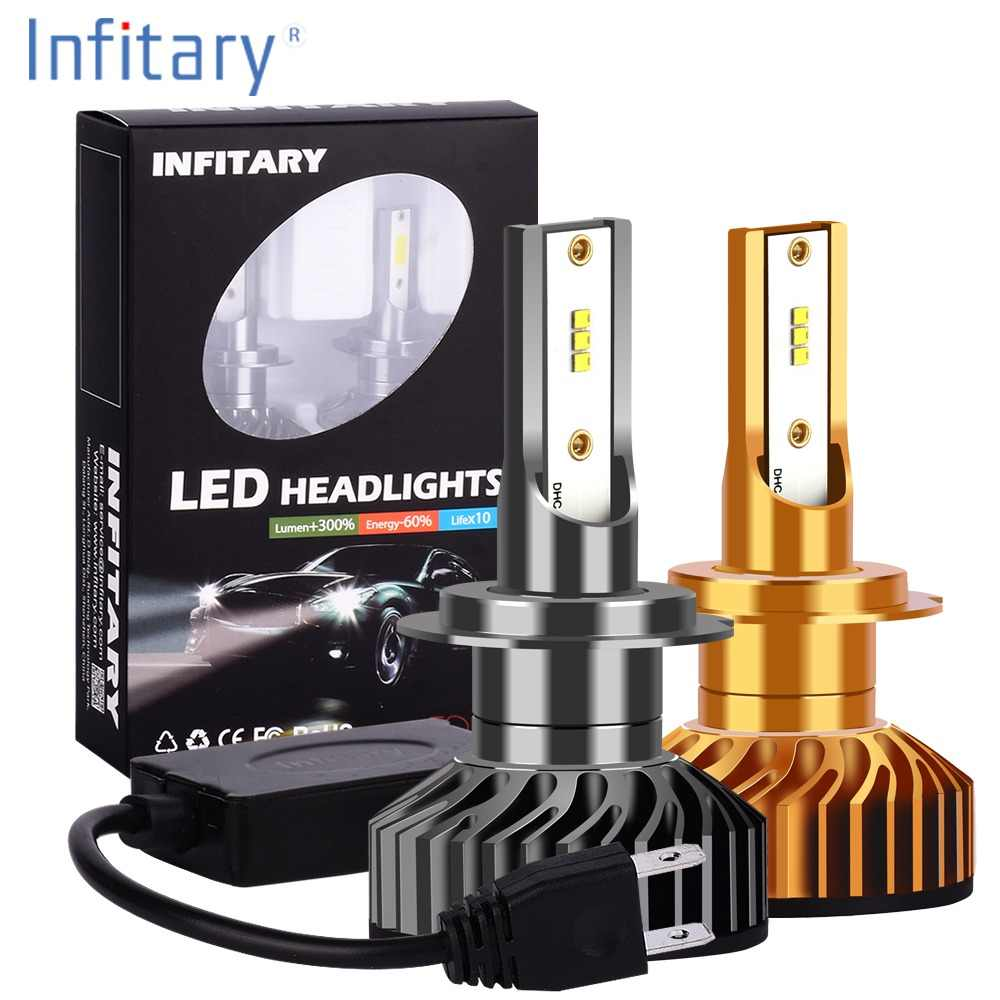 Infitary H7 Led Headlight Bulb H4 LED H1 H3 H8 H11 9005 HB3 9006 HB4 9007 ZES Chips 8000LM 6500K 12V 24V Auto Fog Light Car Lamp