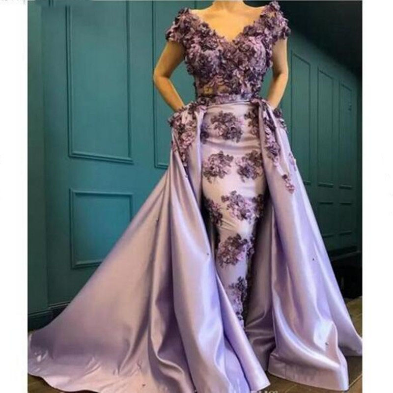 768190e0aa5 Vintage Long Mermaid Evening Gowns With Detachable Train   Pretty Purple  Floral Lace Beaded Formal Party Dresses