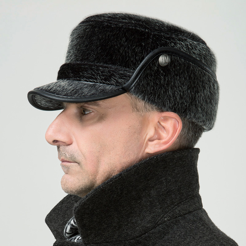 Quality hat male flat military hat winter casual winter hat ear thermal cotton cap thickening