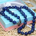 Natural stone jasper laps lazuli round beads necklace for women 8mm 10mm 12mm chain choker gifts elegant jewelry 18inch B35