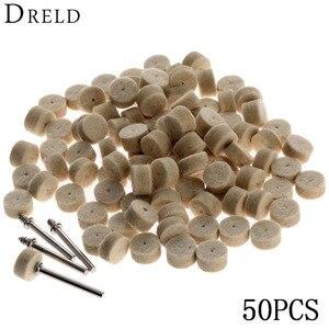 Image 1 - DRELD 50 sztuk szlifowanie polerowanie Pad akcesoria Dremel 13mm wełna filc polerowanie tarcza polerska + 2 sztuk 3.2mm Shanks dla narzędzia obrotowego