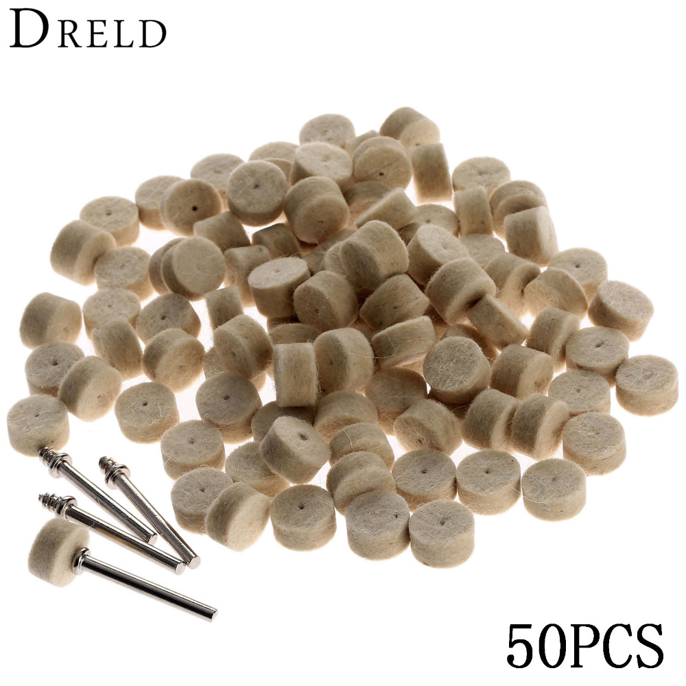 DRELD 50Pcs Grinding Polishing Pad Dremel Accessories 13mm Wool Felt Polishing Buffing Wheel+2Pcs 3.2 Mm Shanks For  Rotary Tool