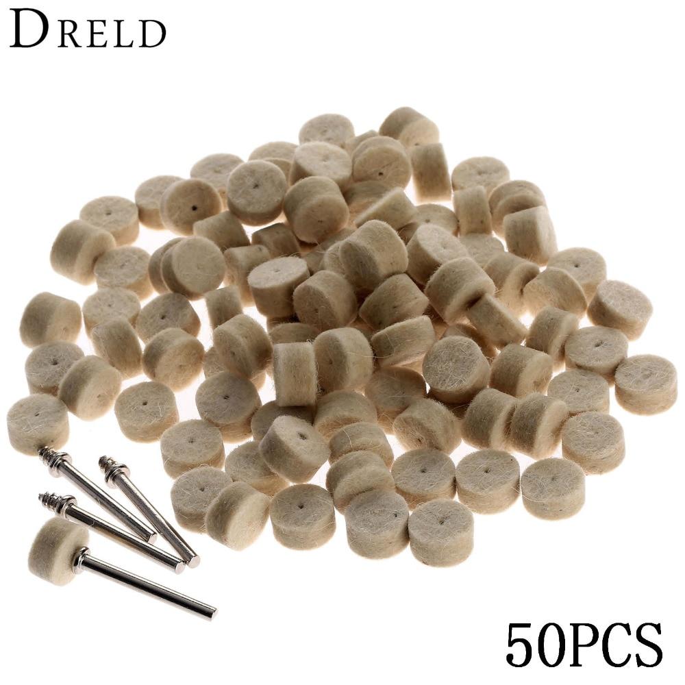 DRELD 50Pcs Grinding Polishing Pad Dremel Accessories 13mm Wool Felt Polishing Buffing Wheel+2Pcs 3.2 mm Shanks for Rotary Tool стоимость