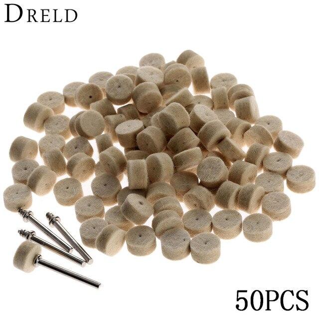 DRELD 50Pcs Grinding Polishing Pad Dremel Accessories 13mm Wool Felt Polishing Buffing Wheel+2Pcs 3.2 mm Shanks for  Rotary Tool