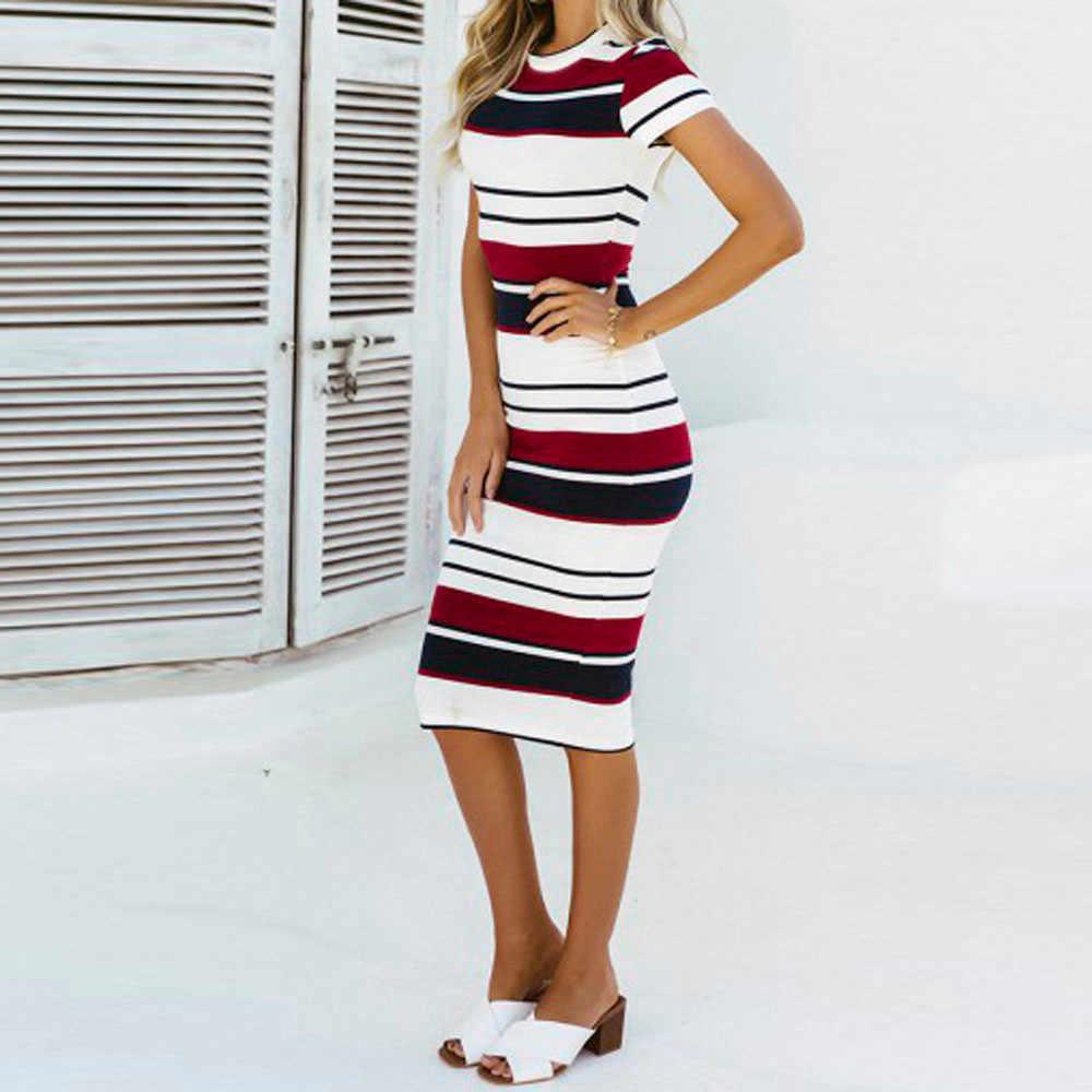 ... Feitong 2018 Women Dress Summer Slim Bodycon Knee-Length Stripe Party  Sheath Dress Sexy Club 5601d0f086c9