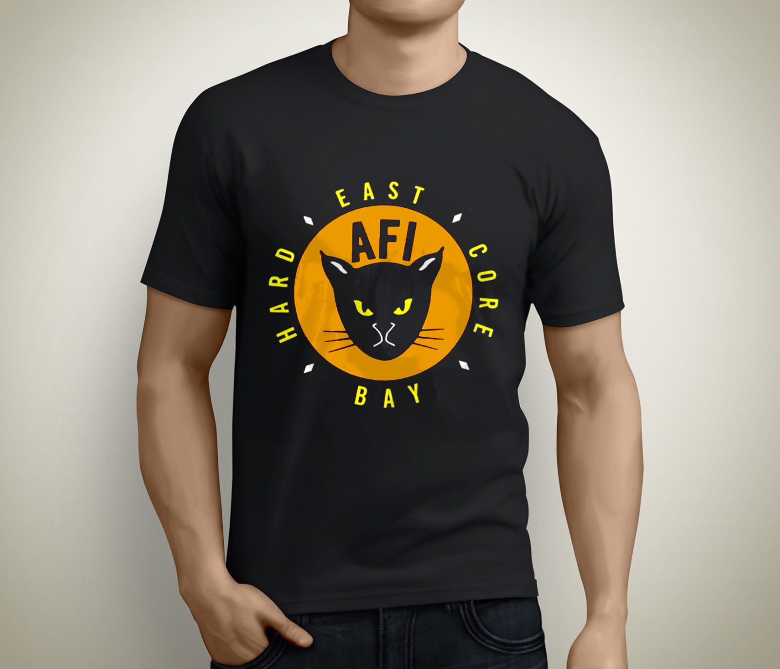 Новый afi East Bay Kitty рок-группа короткий рукав Для мужчин черный футболка Размеры S  ...