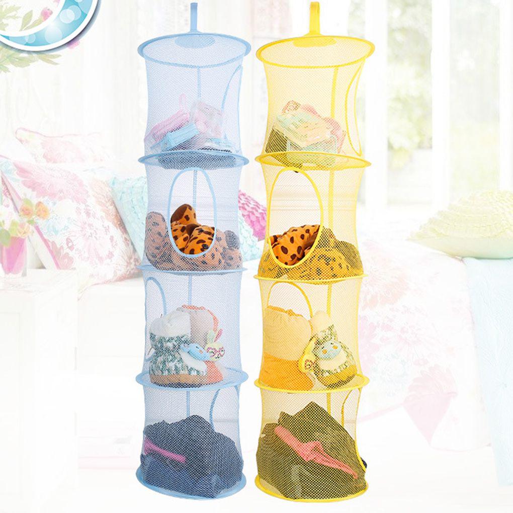Mesh Hanging Storage 4 Compartments Folding Kids Toy Organizer Bag Clothes Dryer Net Basket