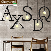 Qiseyuncai Retro Industrial Style Letter Chandelier Creative Restaurant Bar Clothing Store Window DIY Decorative Iron Chandelie