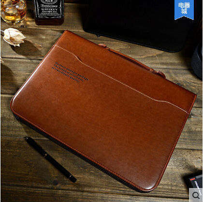 Pu Leather Zip File Multifunction Computer Bag Briefcase