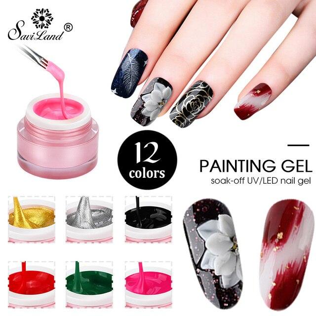 Saviland 3D Gel Paint UV Gel Nail Varnish Painting Gel 12 Colors ...