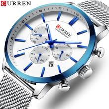 CURREN Fashion Mens Quartz Watch Silver Multifunction Stopwatch Mesh Slim Stainless Steel Bracelet Casual Business Wrist Watches