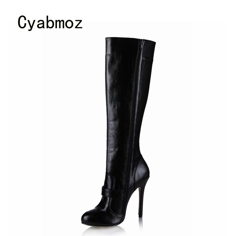 Cyabmoz Women Shoes Woman Knee High Heels Winter Boots Buckle Serpentine Ladies Party Dress Shoes Zapatillas Botas Zapatos Mujer