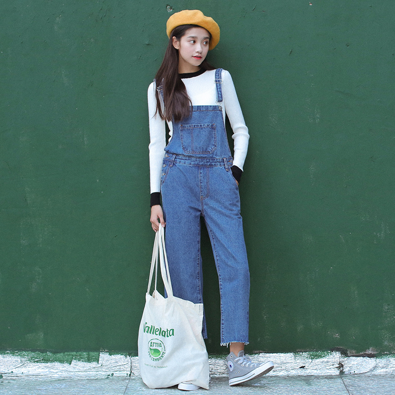 2018 новые модные женские туфли с вышивкой джинсовые прямые джинсы комбинезон женские винтажные джинсовые комбинезоны штаны