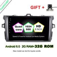 2 Din Android 6.0 car dvd autoradio di navigazione gps da 8 pollici comandi al volante Per Toyota corolla 2007 ~ 2011 in dash navi RDS