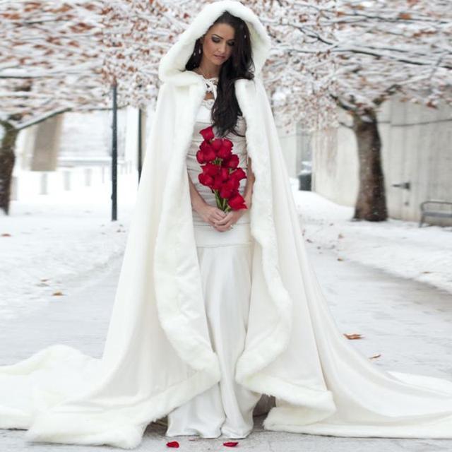 invierno novia del cabo capas con capucha de piel falsa de boda