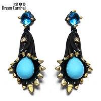 DC1989 Kroonluchter bell bloem Zee blauw Dangle oorbellen Zwart Vergulde Witte Zirconia Messing oorbellen voor vrouwen ZE52799